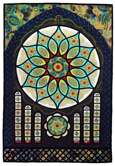 """Fenestra Rosa"", 32""  x 47"", stained glass quilt by Mardi Carter. 2013 Hoffman Challenge - Mixed Best Incorporation of Challenge Fabric"