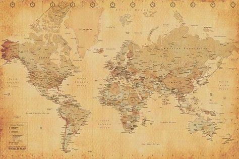 Fonkelnieuw Mooie vintage wereldkaart poster in het formaat 61 x 91,5 cm BG-94