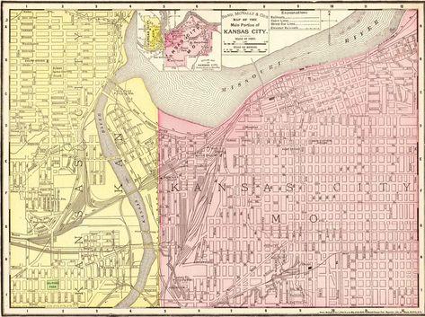Details about 1900 Antique KANSAS CITY Map Vintage Map of Kansas