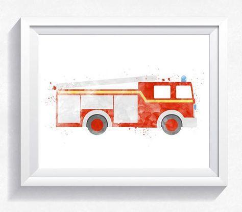 Fire Truck Art Fire Engine Decor Fireman Truck Big Boys Etsy In 2021 Fire Truck Wall Art Trucks Print Fire Trucks