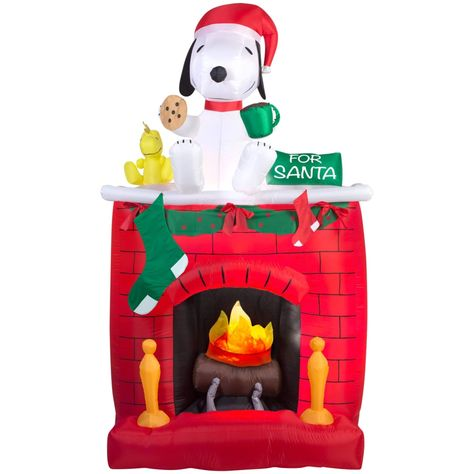 Christmas Airblown Inflatable Fire & Ice-Snoopy on Fireplace Scene, Multicolor, Gemmy
