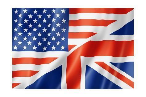 United States And British Flag Art Print Daboost Art Com In 2020 Learn English British Flag British And American English