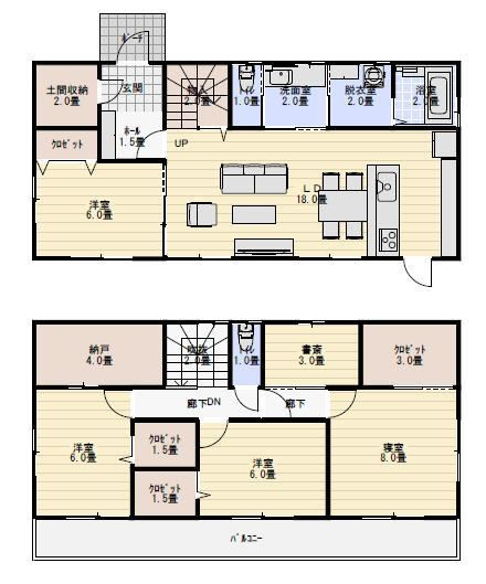 玄関土間収納のある間取り図 ベッドルーム全室南向き 間取り 人気