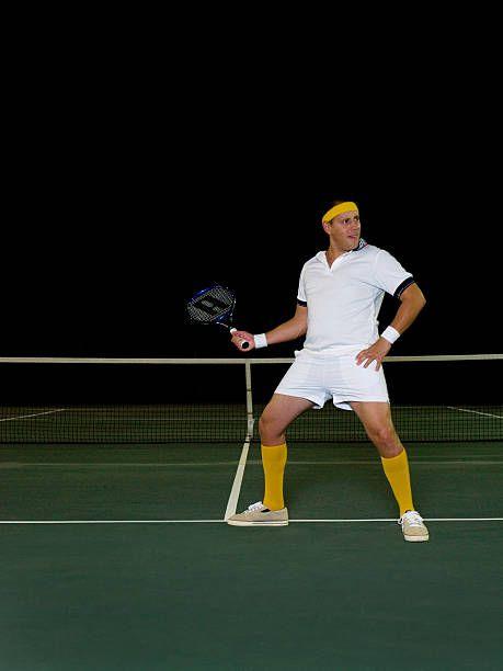 Man Standing On Tennis Court Funny Tennis Pic Tennis Court Photo Shoot Tennis Racket Tennis Outfit Tennis Gear Tennis Tennis Clothes Tennis Gear Tennis