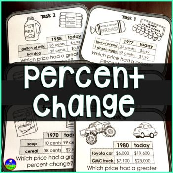 Percent Change Task Cards Task Cards