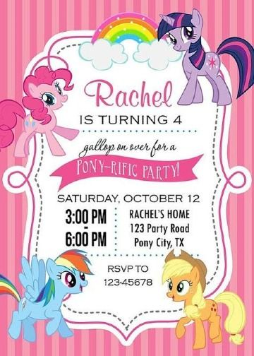 Creativas Invitaciones De Little Pony Para Niñas De 5 Años