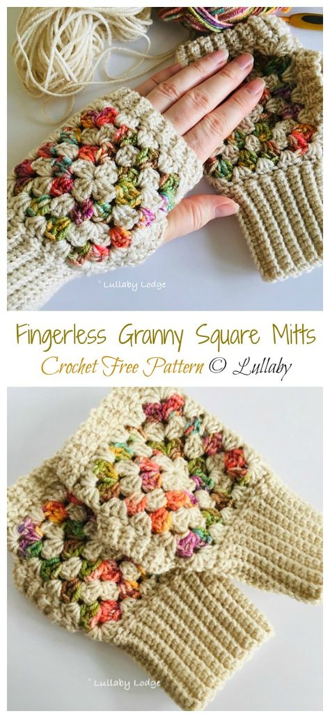 to crochet mittens Fingerless Granny Square Mitts Free Crochet Pattern Crochet Mittens Free Pattern, Fingerless Gloves Crochet Pattern, Fingerless Mitts, Crochet Stitches, Free Crochet, Knit Crochet, Crochet Patterns, Free Knitting, Crochet Cushions