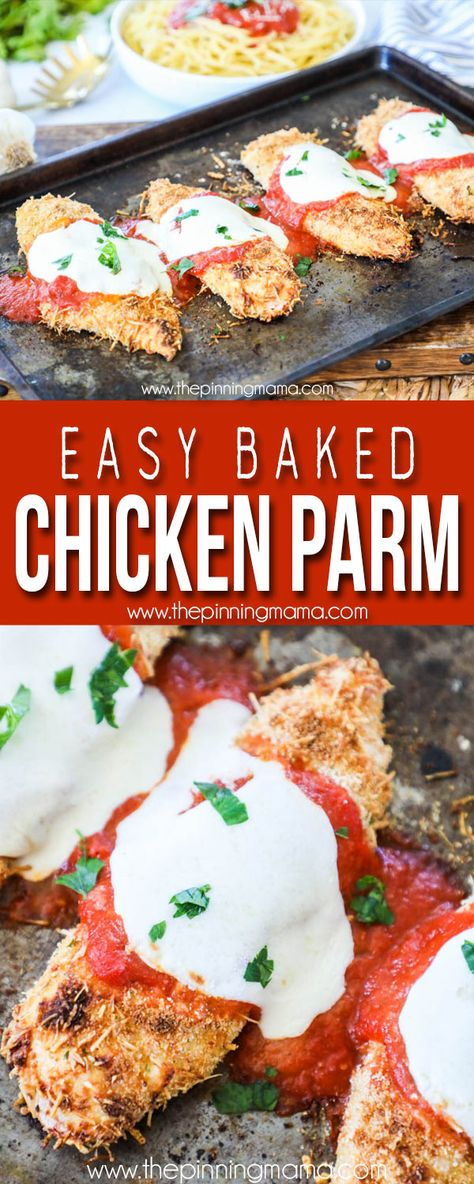 The BEST Baked Chicken Parmesan Recipe! This recipe is simple, delicious and fool proof!