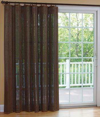 Banded Bamboo Panel Family Room Sliding Glass Door Sliding