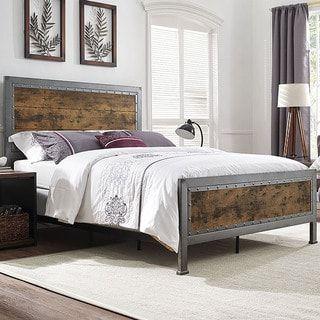Queen Size Industrial Brown Wood And Metal Bed Bedroom Pinterest