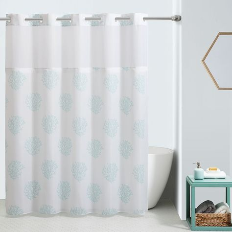 Hookless Ocean Coral Shower Curtain And Liner Green 74x71