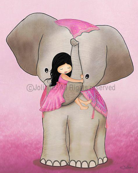 Kids room art, girl on elephant, pink wall art for kids room, nursery art, art for girls room, illustration drawing print poster art