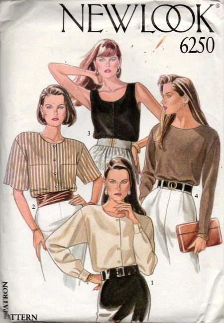 New Look 6250 vintage sewing pattern, dated circa Misses blouses & tank top, please see images for style details. Pattern is U Golden Blouse Designs, New Look Shirts, Decades Fashion, Vintage Vogue Patterns, Vintage Outfits, Vintage Fashion, Vintage Sewing Notions, Designer Blouse Patterns, Blouse Vintage