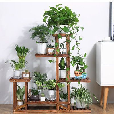 Wooden Plant Flower Stand Shelves Garden Planter 5-Tier Pot Display Rack Holder