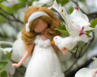 needle felted Angel in white, baptism gift, confirmation gift, birth, communion gift, nursery, felted angel, fairy doll, baby shower,white
