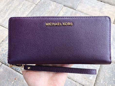 a0bd6b6ac184 Michael Kors Jet Set Travel Continental Wallet Long Wristlet Damson Purple  Mulberry #Handbags #GabysBags