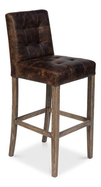 Leather Bar Stool Tufted Distressed Dark Brown Bar Stools