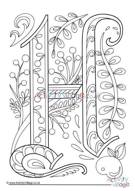Illuminated Letter H Colouring Page Unicorn Coloring Pages Coloring Pages Mandala Coloring Pages