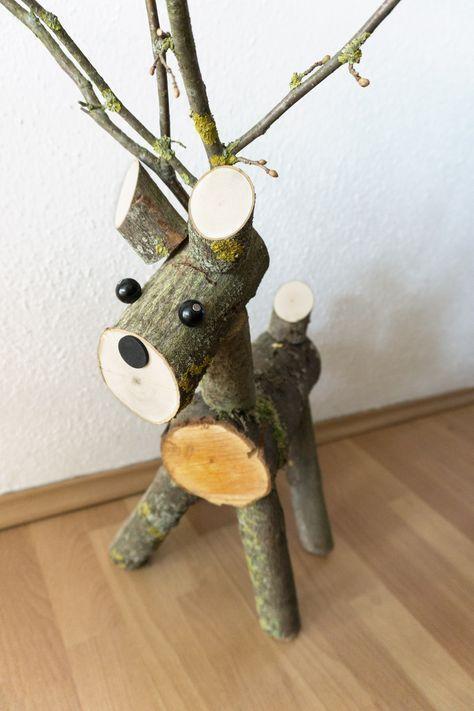 Selbstgebasteltes Diy Rentier Aus Holz Weihnachten