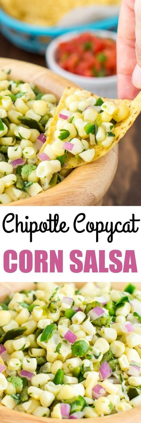 A sweet salsa with medium heat, copycat Chipotle Corn Salsa recipe has two chilis (one of them roasted!) and plenty of fresh corn for maximum flavor.