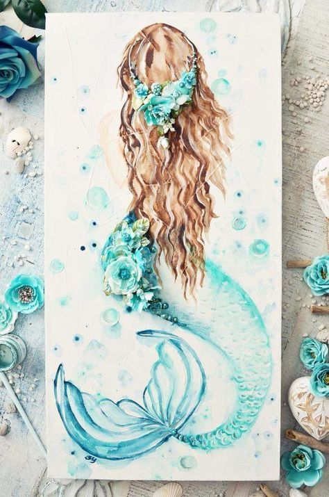 Mermaid in mixed media and watercolour  #mixedmedia #watercolour