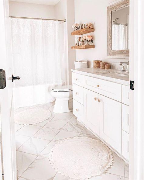 White Pink Wood Girls Bathroom Bathroom Inspo White Cabinets
