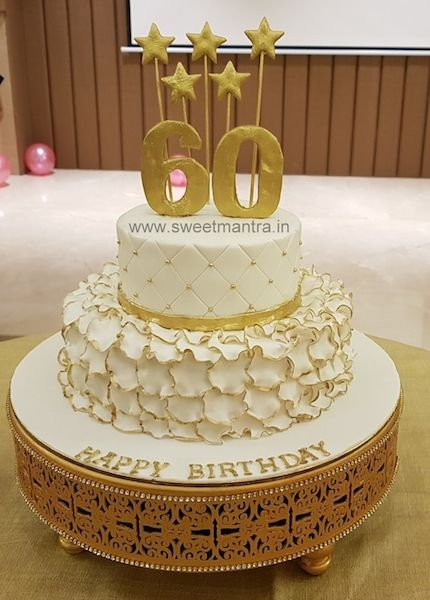 White And Gold Theme Customized 2 Tier Designer Fondant Cake For Dad S 60th Birthday At 60th Birthday Cake For Mom Tiered Cakes Birthday Birthday Cake For Mom