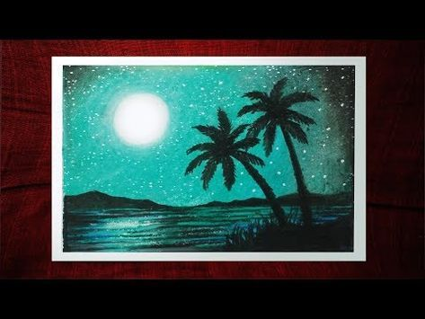 How To Draw Moonlight Scenery With Oil Pastels Step By Step Youtube Oil Pastel Art Oil Pastel Oil Pastel Drawings