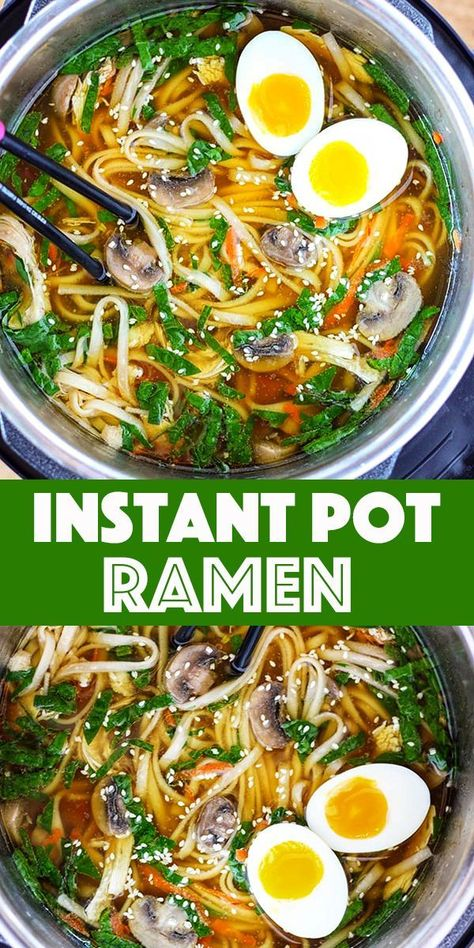 Instant Pot Ramen Soup - Fresh ginger, garlic and mushroom bring together a rich and delicious homemade chicken stock. Add noodles, baby spinach and freshly shredded carrots to make it a meal.