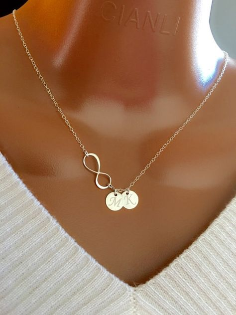Personalized gift for Mom, Mother necklace , Sterling Silver Infinity and initial Discs necklace, personalized Initial discs, gift for her