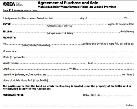 Mobile Home Purchase Agreement Simple Home Purchase