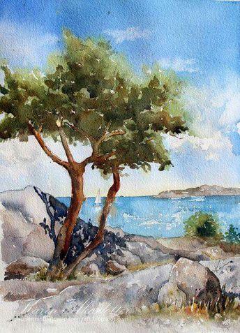 Paysage Mer Arbres En Aquarelle Peinture Paysage Paysage