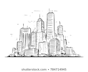 Vector Cartoon Sketchy Hand Drawing Illustration Of City High Rise Cityscape Landscape With Skyscraper Buildi Cityscape Drawing City Drawing Landscape Drawings