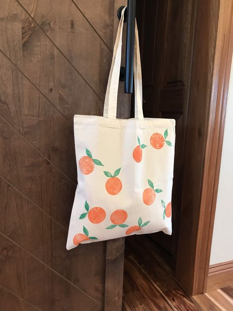 Painted Canvas Bags, Canvas Tote Bags, Custom Tote Bags, Diy Tote Bag, Reusable Grocery Bags, Orange Bag, Printed Bags, Plastic Spoons, Plastic Bags