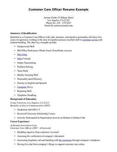 Resume Templates For Customer Service Examples Of Customer Service Resumes Pdf  Resume Samples