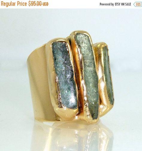 Kyanite Ring Raw Gemstone Ring Cocktail Ring Gold Adjustable Wide Band Ring Gold ring Statement Kyanite Ring By Inbal Mishan. by inbalmishan