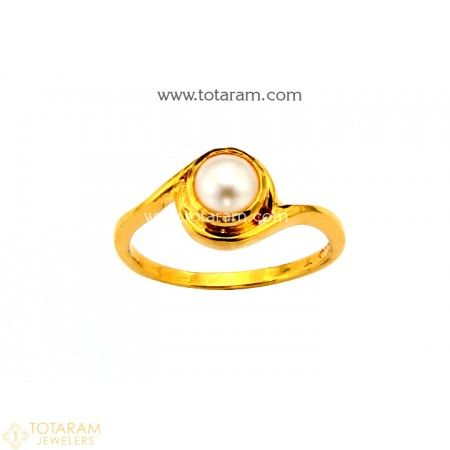 d0c9fb151 22K Gold Women's Ring With Pearl - 235-GR4474 - Buy this Latest Indian Gold  Jewelry Design in 3.700 Grams for a low price of $292.69
