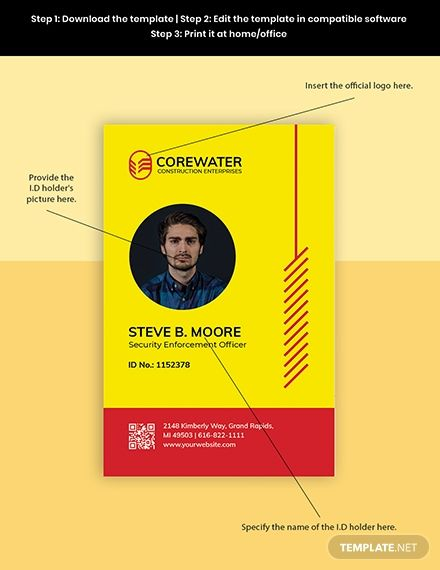 Construction Security Id Card Template Word Doc Psd Apple Mac Pages Illustrator Id Card Template Employee Id Card Card Template