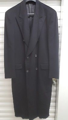 SYTX Mens Winter Double Breasted Long Wool Trench Pea Coat Overcoat