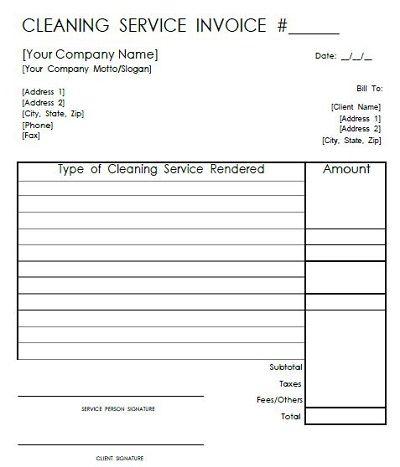 Cleaning Service Invoice Templates Receipt Template Cleaning Service Invoice Template