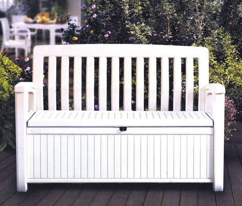 Outdoor Furniture Storage Deck Box Keter 60 Gallon Patio Pool Bench Seat White Outdoor Storage Bench Patio Storage Patio Storage Bench