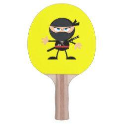 Cartoon Ninja Warrior Yellow Ping Pong Paddle Ping Pong Paddles Ninja Warrior Cartoon