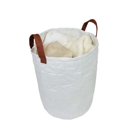 Homz Quilted Laundry Bag White Bag With Brown Handles Set Of 1