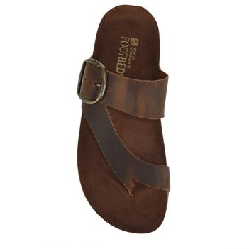 Footbed sandals, Brown leather sandals