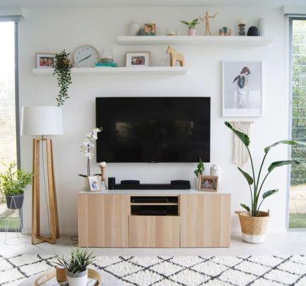 20 Modern Unique Wall Shelving Ideas Ikea 2020 Harp Times In 2020 Ikea Living Room Living Room Tv Wall Wall Decor Living Room