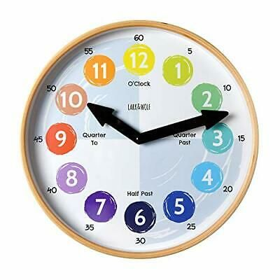 Details About Telling Time Teaching Clock For Kids Learn To Tell The Time 12 Wooden Frame In 2020 Clock For Kids Teaching Clock Telling Time