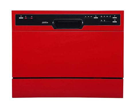 Sunbeam Dwsb3607rr Compact Countertop Dishwasher With Rinse Aid Dispenser Red Countertop Dishwasher Tiny Kitchen Countertops