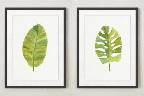 Groene blad aquarel. Palm bananenblad en tropische Monstera blad Set van 2 Art Prints groene muur Decor. Keuken illustratie cadeau idee bladeren afdrukken. Een prijs is voor de set van 2 watercolor Paintings van de Palm, zoals in de eerste afbeelding.  Het soort papier: Afdrukken tot (42 x 29, 7cm) 11 x 16 inch formaat worden afgedrukt op archivering Acid gratis 270g/m2 aquarel Fine Art Witboek en behoudt het uiterlijk van het originele schilderij. Grotere afdrukken worden afgedrukt op…