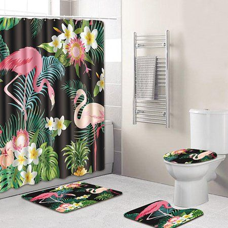 4 Piece Shower Curtain Bathroom Set Backing Rug Carpet Mat Bath