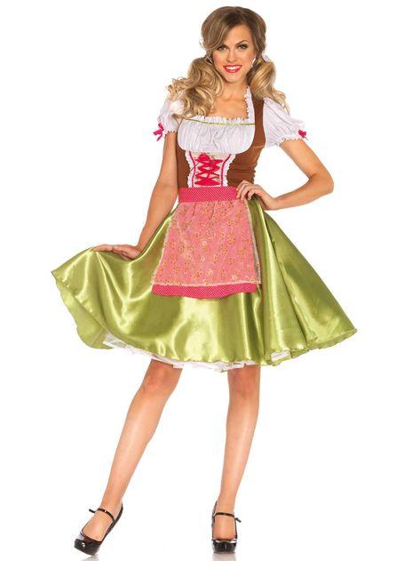 b4a7f5238b02 Questo costume da cameriera tirolese per adulto è veramente bello e  presenta una estrema cura nel dettaglio. la gonna è in raso di colore verde  brillante e ...